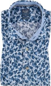 Koszula Olymp z lnu w młodzieżowym stylu z krótkim rękawem