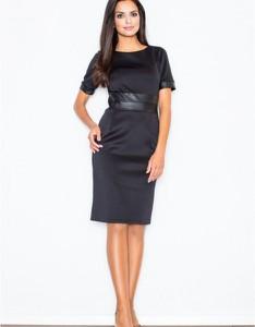 Czarna sukienka Figl midi z krótkim rękawem