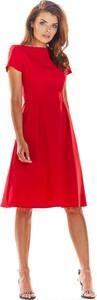 Sukienka Awama z okrągłym dekoltem z krótkim rękawem