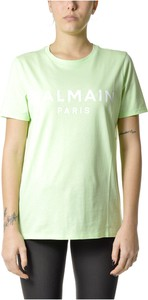 Zielona bluzka Balmain z okrągłym dekoltem