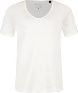 T-shirt Marc O'Polo z lnu z krótkim rękawem z okrągłym dekoltem