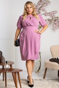 Różowa sukienka KARKO z długim rękawem w stylu casual mini