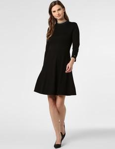 Czarna sukienka Calvin Klein z długim rękawem mini rozkloszowana