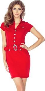 Czerwona sukienka NUMOCO mini z krótkim rękawem z kołnierzykiem