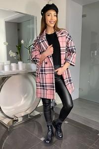 Różowy płaszcz Ella Boutique z tkaniny w stylu casual