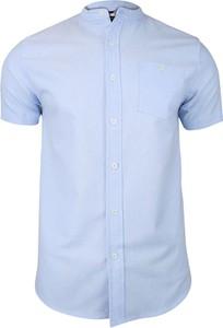 Niebieska koszula Brave Soul z tkaniny z krótkim rękawem