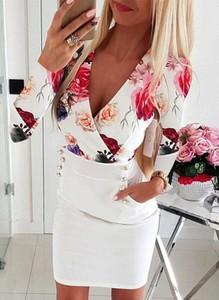 Sukienka Sandbella mini z długim rękawem z dekoltem w kształcie litery v