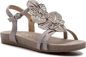 Sandały Caprice w stylu casual z płaską podeszwą ze skóry