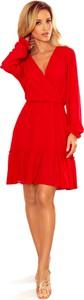 Czerwona sukienka Ptakmoda.com z szyfonu kopertowa mini