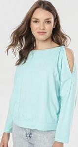 Miętowa bluzka born2be w stylu casual z długim rękawem