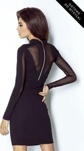 Granatowa sukienka Ivon mini z długim rękawem z tkaniny