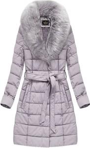 Fioletowy płaszcz Libland ze skóry ekologicznej