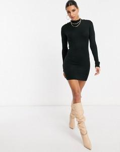 Czarna sukienka Brave Soul z długim rękawem z dzianiny w militarnym stylu