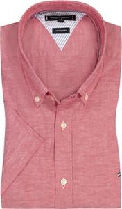 Koszula Tommy Hilfiger z krótkim rękawem z kołnierzykiem button down z bawełny