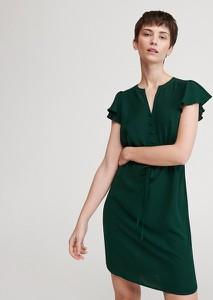 Zielona sukienka Reserved z dekoltem w kształcie litery v z krótkim rękawem mini