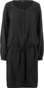 Brązowa sukienka bonprix bpc bonprix collection z okrągłym dekoltem midi