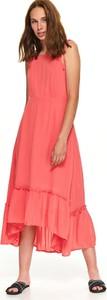Różowa sukienka Top Secret asymetryczna