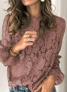 Różowa bluzka Arilook z długim rękawem w stylu boho