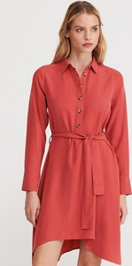 Różowa sukienka Reserved koszulowa z kołnierzykiem mini