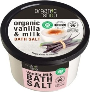 Organic Shop, Organic Vanilla & Milk Bath Salt, sól do kąpieli, Wanilia i mleko, 250 ml