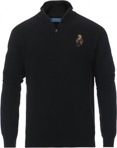 Czarny sweter POLO RALPH LAUREN ze stójką z dzianiny