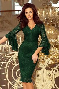 Sukienka NUMOCO z długim rękawem z dekoltem w kształcie litery v midi