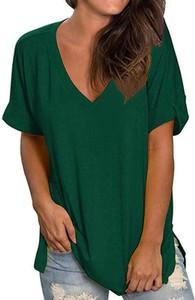 Zielony t-shirt Kendallme z krótkim rękawem z dekoltem w kształcie litery v w stylu casual
