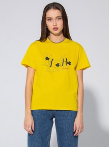 Żółty t-shirt LOCAL HEROES z bawełny w młodzieżowym stylu z krótkim rękawem