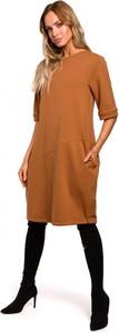 Sukienka MOE z długim rękawem z okrągłym dekoltem bombka