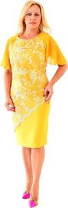 Żółta sukienka Roxana - sukienki z krótkim rękawem