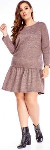 Sukienka Ptakmoda.com z tkaniny mini z okrągłym dekoltem