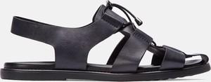 Granatowe buty letnie męskie Kazar sznurowane ze skóry