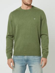 Zielony sweter Fynch Hatton z okrągłym dekoltem z bawełny
