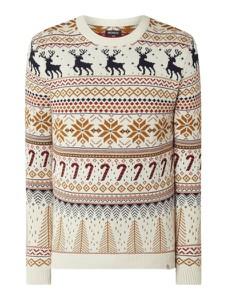 Sweter McNeal w młodzieżowym stylu z okrągłym dekoltem w bożonarodzeniowy wzór
