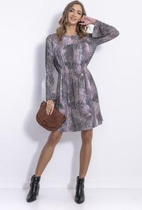 Sukienka Fobya z okrągłym dekoltem z długim rękawem