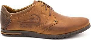 Brązowe buty zimowe Polbut ze skóry sznurowane