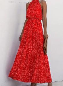 Sukienka Sandbella z dekoltem halter maxi