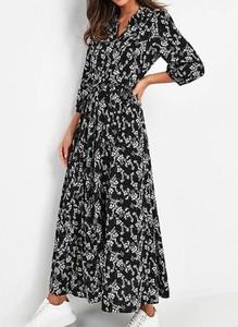 Czarna sukienka Arilook w stylu boho z długim rękawem z dekoltem w kształcie litery v