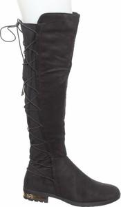 Czarne kozaki Bobo Shoes w stylu casual z płaską podeszwą na zamek