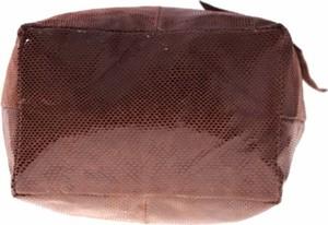 Brązowa torebka GENUINE LEATHER w stylu casual duża ze skóry