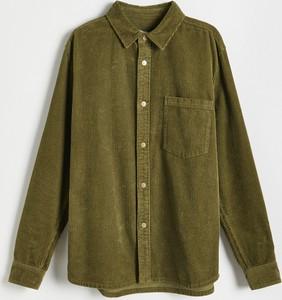 Zielona koszula Reserved ze sztruksu z klasycznym kołnierzykiem