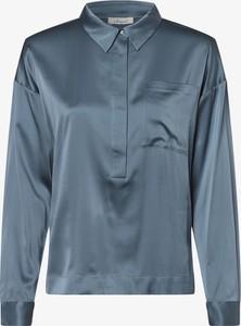 Niebieska bluzka Iheart z kołnierzykiem z długim rękawem z jedwabiu