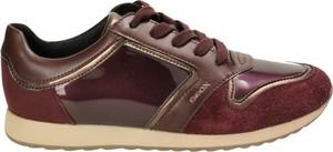 Czerwone buty sportowe Geox sznurowane ze skóry