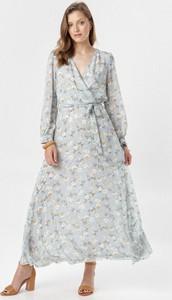 Niebieska sukienka born2be maxi rozkloszowana w stylu casual