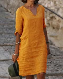 Żółta sukienka Kendallme z lnu mini w stylu casual