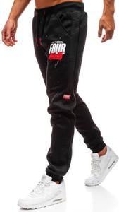 Czarne spodnie sportowe Denley w street stylu z bawełny