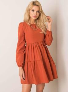 Brązowa sukienka Sheandher.pl z długim rękawem z bawełny mini