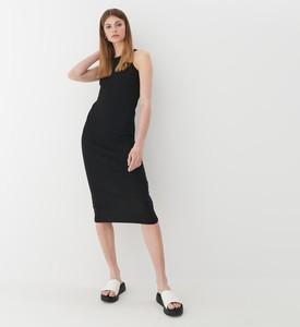 Czarna sukienka Mohito midi bez rękawów dopasowana