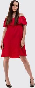 Czerwona sukienka Szachownica z krótkim rękawem mini