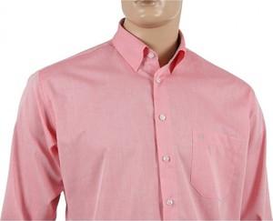 Różowa koszula Hatico w stylu casual z długim rękawem z klasycznym kołnierzykiem